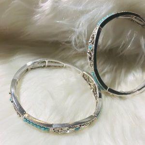 ❤️Silver & blue bracelet set❤️